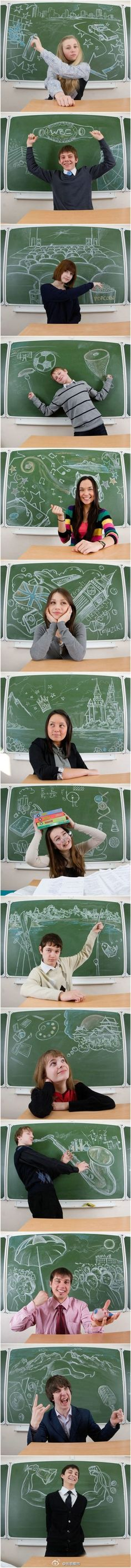 "Now here's an idea I really like, creative on a blackboard, thinking outside the ""board"" - great work - Bell Bela, love it"