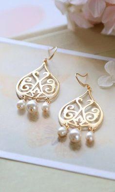 Gold Filigree Ivory Teardrop Pearls Chandelier Earrings