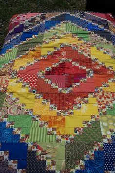 Rainbow scrappy quilt. Hmmm wonder if I will ever have that many scraps: