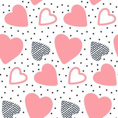 Vector Seamless Pattern With Hand Drawn Hearts. Stock Vector - Illustration of collection, modern: 107693578 Angel Vector, Bow Vector, Vector Art, Heart Wallpaper, Love Wallpaper, Cellphone Wallpaper, Valentines Day Drawing, Happy Valentines Day Card, Heart Doodle