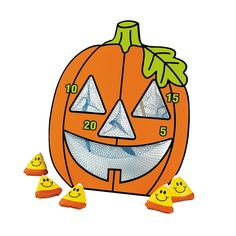 Oriental Trading Company Jack-O'-Lantern Bean Bag Toss Game - Games and Activities and Bean Bag and Ring T. Halloween Class Party, Halloween Wishes, Halloween Games For Kids, Halloween Party Favors, Halloween Activities, Halloween Themes, Halloween Pumpkins, Halloween Crafts, Halloween Carnival
