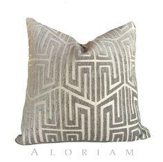 Designer Modern Asian Geometric Fretwork Taupe Gray Beige Pillow Cushion Cover
