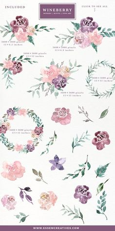 Watercolor Flowers Clipart Wine Berry Burgundy Luxe Fine Art Bouquets Wreath Rustic Boho Save