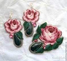 Анастасия-2 - розовый,зеленый,цветы,роза,брошь,серьги,Вышивка бисером