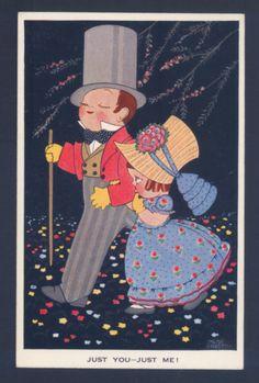 "Chloe Preston Romantic Children on Walk ""Just You Just Me "" Vintage Postcard   eBay"