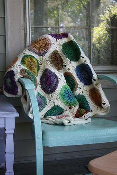 "Variation on Ellen Gormley's ""Sunny Spread"" crochet afghan pattern, done with Noro Silk Garden Lite and Elann Sock It To Me yarns, by fiveoaks66."