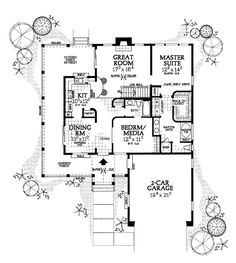 First Floor Plan of Cottage   Country   Ranch   House Plan 90282