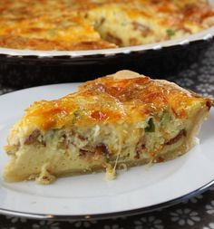 Swiss and Cheddar Quiche with Bacon #recipe