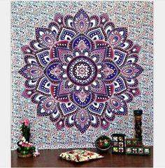 Indian Elephant Tapestry/ Aubusson Colored Printed Decor Mandala Religious Boho Wall Carpet/ Bohemia Beach Blanket Plus Size Mandala Draw, Mandala Bleu, Mandalas Drawing, Lotus Mandala, Flower Mandala, Bohemian Bedspread, Bohemian Tapestry, Mandala Tapestry, Mandala Blanket
