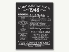 The Year 1948, Personalized 70th Birthday Printable Poster, Printable 70th Birthday Sign, Fun Facts 1948, 70th Birthday Gift, Digital File THIS ITEM IS FOR A DIGITAL FILE ONLY! NOTHING WILL BE SENT IN THE MAIL! IF YOU NEED A YEAR OTHER THAN THE ONE LISTED PURCHASE THIS POSTER OR
