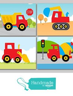 Construction Wall Art, Trucks Kids Wall Art,Construction Nursery Wall Art,Dump Truck Wall Art,Dream Factory Trucks Decor-UNFRAMED set of 4 Photo PRINTS (NOT CANVAS) from Sweet Blooms Decor http://www.amazon.com/dp/B01AB1WZ2S/ref=hnd_sw_r_pi_dp_2Bxtxb13G7AQ2 #handmadeatamazon