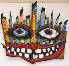 Mask---art brut, folk art, neo-outsider art by New Mexico artist Kelly Moore