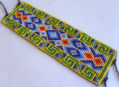 Mexican Huichol Beaded bracelet by Aramara on Etsy