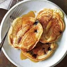 Blueberry-Banana Pancakes | Tyler Florence made these pancakes at home one weekend morning with his son Hayden. They're a slight variation on a recipe from his book, Tyler Florence Family Meal.