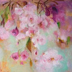 JAPANESE CHERRY  Original Abstract Painting on by Paulina722 #floral #botanical #art #painting