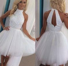 High neck with Beaded Bodice A-line White Tulle Homecoming Dresses,Sleeveless prom dress
