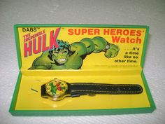 Vintage Dabs Co Super Heroes Watch The Incredible Hulk with Box | eBay