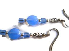 Boston Blue Earrings Cool Blue Earrings Sky Blue by chicagolandia, $13.00