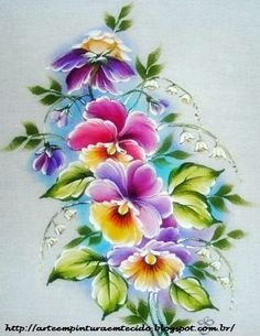 Pintura em Tecido Passo a Passo Com Fotos: Pintura em Tecido Flores Amor Perfeito