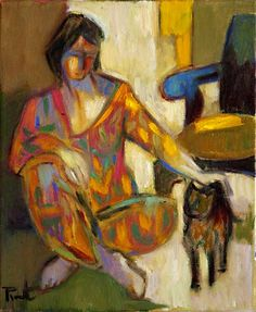 """huariqueje: """"  Young Girl with a Cat - Pierre Pivet. French, b.1948- Oil on canvas, 12 x 10 inches """""""