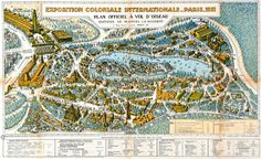 Official plan of the Exposition Coloniale Internationale in Paris 1931 in the bird's eye view with the reconstitution of Angkor Wat in the lower left side. Source: Archives nationales d'outre-mer ANOM, Aix-en-Province. French Colonial, Expo 2015, Angkor Wat, Map Art, City Photo, How To Plan, Zoos, Cambodia, Bird