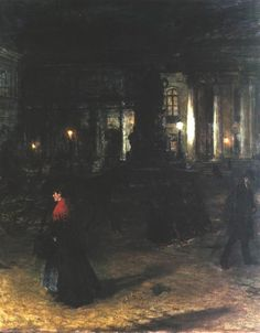 """In solitude we give passionate attention to our lives, to our memories, to details around us..."" (Virginia Woolf) Art: Maximilian Square in Munich at night by Aleksander Gierymski (Polish, 1850-1901)"