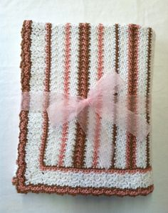 Large Crochet Baby Blanket in Stripes of Peach and Brown on White