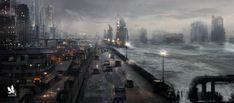 City Walls- Stormy Light, Atomhawk Design on ArtStation at https://www.artstation.com/artwork/city-walls-stormy-light