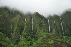 """Land of a Thousand Waterfalls"" Ko'olau Mountains/Waterfalls, Oahu, Hawaii"