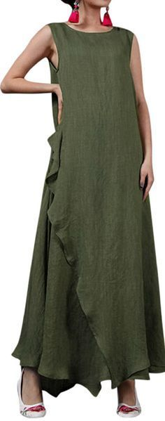 US$ 19.16 O-NEWE Vintage Solid Sleeveless Irregular Maxi Dress For Women