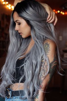 Dyed hair grey - gefärbtes haar grau - cheveux teints gris - cabello teñido gris - dyed hair for brunettes, dyed hair pastel, dyed hair colors, split . Grey Hair Wig, Dyed Blonde Hair, Lace Hair, Blue Grey Hair, White Hair, Grey Hair Dyes, Green Hair, Hair Color Silver Grey, Purple Hair