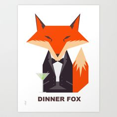 Dinner Fox Art Print by Foxlefur - $19.76
