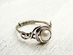 Wire Wrapped Ring Fresh Water Pearl Sterling Silver Ring Antiqued