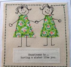 Unique sister birthday card. Sister get well. Sister thank you. Twin sister card. Personalised with your words printed  top of the card. by FiddlethreadStudio on Etsy