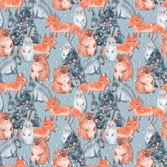 Holiday and animals fabric by gribanessa on Spoonflower - custom fabric