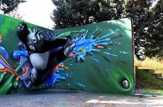 Global Street Art • An impressive anamorphic twist on Kung-Fu Panda by...