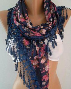 Georgeus Scarf   Elegance Scarf   Feminine Scarf ....Dark blue  Pink flowered$0.00