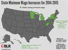 State Minimum Wage Increases Map for 2014-2015 Infographic