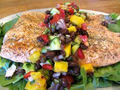 salmon with mango and black bean salsa