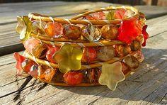 Glass Bouquet of Flowers Valentine Wrap Bracelet - $49