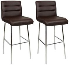 Pair Lafing Chrome and Padded Kitchen Breakfast Bar Stools Fixed Height Various Colours 4 Leg Chrome Frame