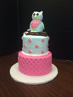 Owl theme baby shower by The Cake Box Baytown TX