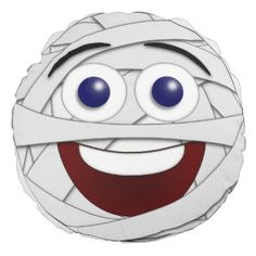 Laughing Smiley Face Halloween Mummy Round Cushion