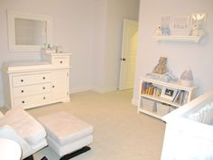 Gender Neutral All White Baby Nursery This Room Would Be Easy to Pull Off On a Budget. Frames From the Dollar Store Painted White, a Simple Yard Sale End Table Painted White, and You Could Substitute a Wooden Yard Sale Rocking Chair Either Painted White with Nursery Paint, Or Just Leave the Beautiful Wood and Add White Pillows or Cushions.