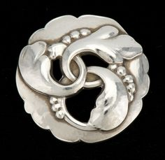 "Georg Jensen (1866-1935) - Foliate Brooch. Sterling Silver. Denmark. Circa Early-20th Century. 1-3/4""."