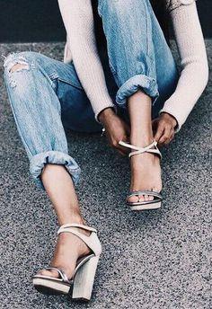 vintage denim. silver block heel sandals.