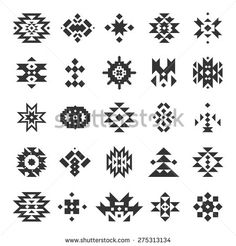 Similar Images, Stock Photos & Vectors of Beautiful Set of Geometric Ethnic Patterns. Vector Mexican and Aztec Decor Elements. Native American Patterns, Native American Symbols, Arte Tribal, Tribal Art, Tribal Symbols, Aztec Designs, Geometric Designs, Ethnic Patterns, Beading Patterns