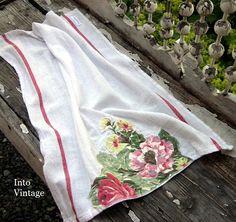 Into Vintage: raw edge applique flowers on towel