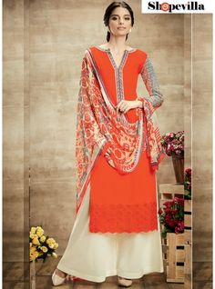 bd2d24ff5616 Women s Clothing - Party Wear Coral Red   Cream Palazzo Suit - 102 -  PRODUCT Details   Style   Semi-stitched Palazzo SuitDefault Size   Free  Size ( Semi-s