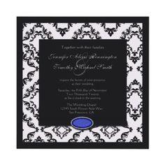 Wedding Invitation with a Dark Blue Sapphire Embellishment Design